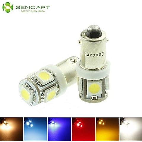LIROOTBA9S T4W W6W LED blu/rosso/bianco caldo/Verde/Giallo/Bianco 1,5 W 5X5050SMD 90LM per auto lampadina della luce (DC12-16V) , piscina