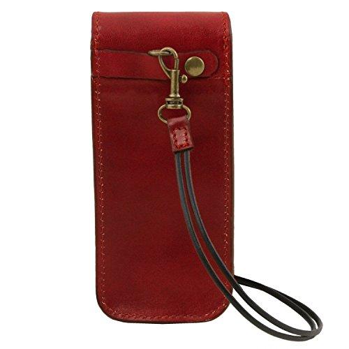 Tuscany Leather Esclusivo portaocchiali/Smartphone a tracolla in pelle Misura grande Nero Rosso
