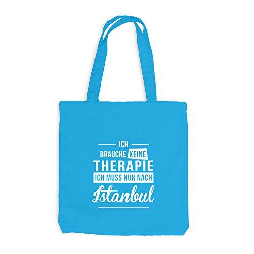 Monkiez Jutebeutel - Ich Brauche Keine Therapie Istanbul - Therapy Urlaub Turkei, Surfblau