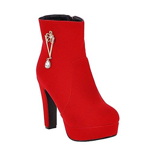 Mee Shoes Damen Reißverschluss Plateau high heels Stiefel Rot