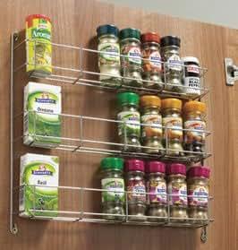 Kitchen Door Triple Spice & pack Rack tier spice rack 388mm