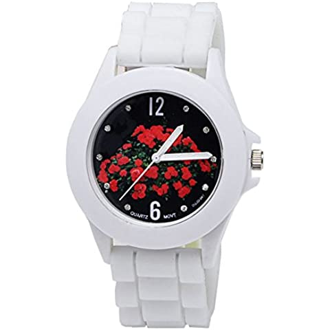 Moda Donna orologio da polso al quarzo bianco puro (Rosa Stampa quadrante diamante scala embedded, Custodia in metallo, Cinturino in silicone) - 20 Diamanti Womens Watch