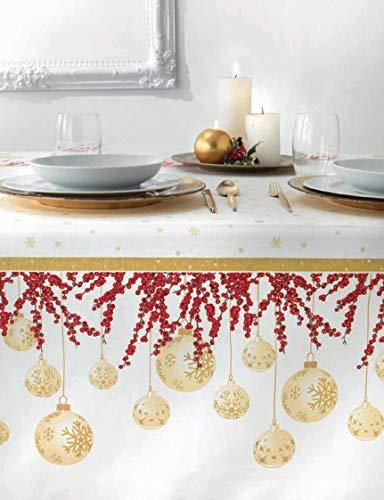 Vallesusa tovaglia da tavola senza tovaglioli natalizia art. glimmer stampata su panama di puro cotone var. oro (rett. x 8 cm. 150x220)