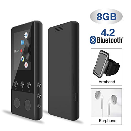 MP3 Player,8GB MP3PlayerBluetooth for Sport Auto mit Lautsprecher FM Radio Voice Recorder Schrittzähler, 1.8TFT Musik Player Speicher Erweiterbar bis 128 GB(mit Kopfhörer, Sport Armband)