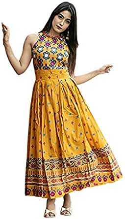 Rockter enterprise Women's Rayon Kurti (Yellow, 2XL)