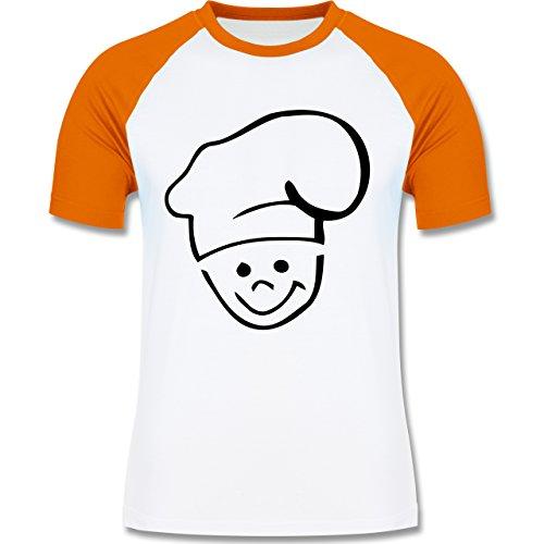 Küche - Küchenchef - zweifarbiges Baseballshirt für Männer Weiß/Orange