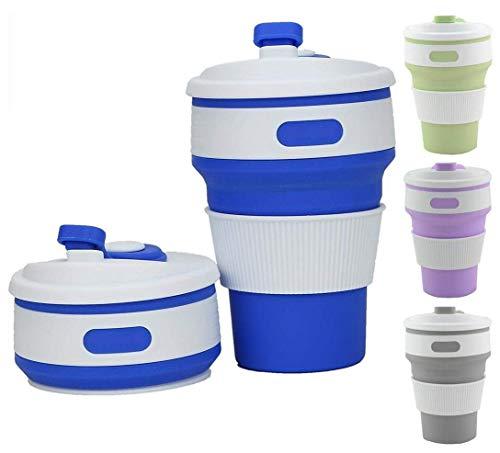 (Xelparuc Faltbare Kaffeetasse mit Deckel für Wasser, Kaffee, Tee & Softgetränke, ideal für Camping, Reisen, Picknick, Mittagessen, Pendler [Blau, 1 Pack])