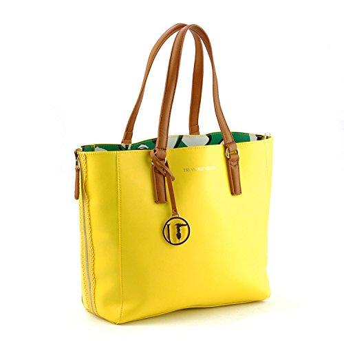 Borsa Shopping Bag Trussardi Jeans Giallo-Verde