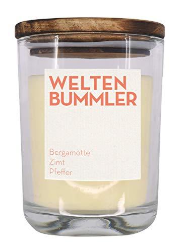 UpCandle aus Berlin - Duftkerze aus Rapswachs und natürlichen ätherischen Ölen in Recycling-Glas - Weltenbummler (250 ml) -