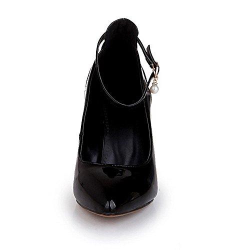 VogueZone009 Femme Fermeture D'Orteil Pointu Boucle Verni Couleur Unie Stylet Chaussures Légeres Noir