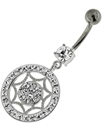Piercing India Clear Colorful Multi Crystal Stone Star in Round Frame 925 Sterling Silver Belly Ring Body Jewelry