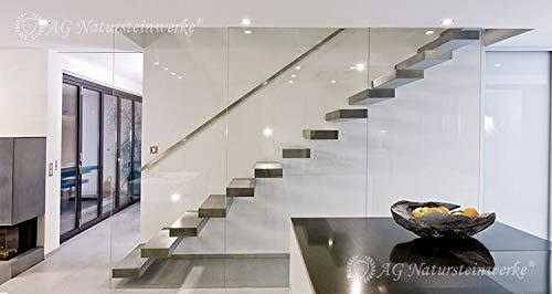 SkyStairs ® - Schwebende Treppe - Grade oder Wendel möglich - Mit High Tech Feinsteinzeug, Granit, Marmor, Naturstein, Boden u. Treppe aus dem selben Stein möglich- patentiertes Verfahren - Gutschein