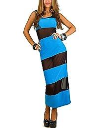 Dress Maxikleid Sommerkleid langes Abend Kleid transparent Tüll Streifen, Blau