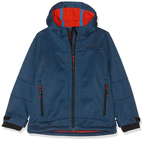 CMP Jungen Softshell Kapuzen Jacke, Blau (Cyano/Orange) 140