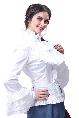Nuoqi Damen Lange Ärmel Gothic Bluse Top Cosplay Kostüm Weiß