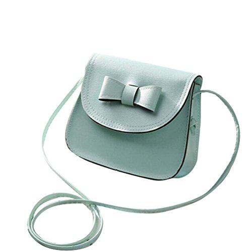 Vovotrade messenger bag di spalla delle donne di Bowknot Borsa in pelle (Nero) Verde menta