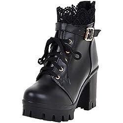 POLP Botines de Tacón Impermeables Mujer Zapatos con Plataforma de tacón Alto con Cordones Botas Cortas Retro Zapatos de Tacón Medio Partido Vestido De Boda con Encaje A la Moda Tacón Grueso