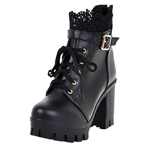 POLP Botines de Tacón Impermeables Mujer Zapatos con Plataforma de tacón Alto con Cordones Botas Cortas...