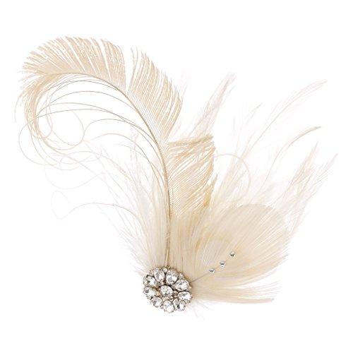 Gazechimp Damen Haarspange, Haarklammer mit Künstlich Federn silber Strass für Hochzeit oder Party