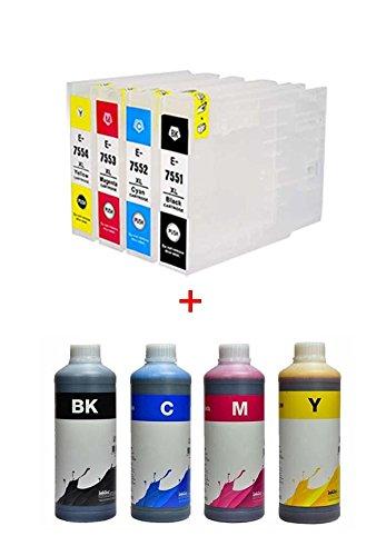 Cartucce compatibili per Epson T7551 / T7554, T75, T75XL + 4 litri di inchiostro E0013, la stampante Epson WorkForce Pro WF-8590 D3TWFC