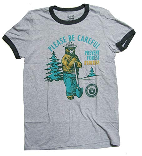 Stolz Ringer (Tee Luv Retro geräuchertes Ringer T-Shirt, um Feuer für Männer zu verhindern groß Athletisch Grau)