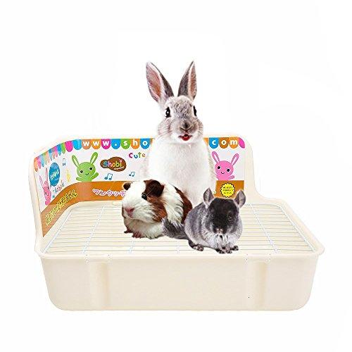 HongYH Pet Kleine Ratte WC, quadratisch Toilettentrainer Eck Betten Katzenklo Box Pet Pfanne für Kleine Animal/Kaninchen/Meerschweinchen/Galesaur/Frettchen, L, beige -