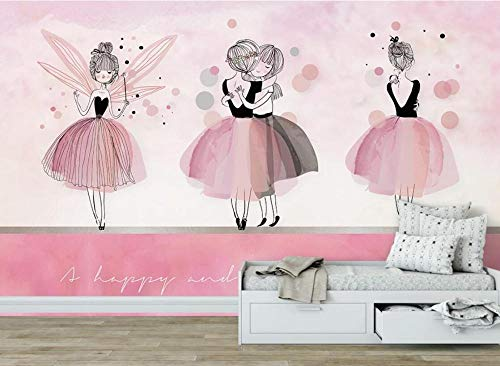 Wemall Pink Ballet Wallpaper 3D-Rolltapeten Decals Fototapeten für Kinderzimmer Wandbild Papiertapeten, 400x280 cm (157.5 by 110.38 in)