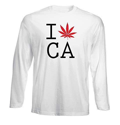 11d1cb59 T-Shirt por los Hombre Manga Larga Blanca FUN1973 i Love California Pot Leaf