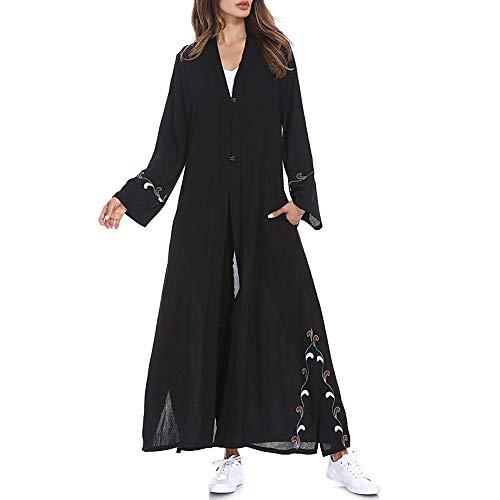 Hawkimin Damen Muslimische Mode islamische Gestickte Strickjacke Langen Mantel Nahen Osten Lange Robe Einfarbig Strickjacke Pullover Cardigan Langarm Longstrickjacke