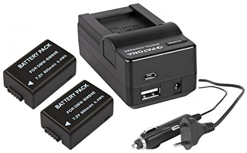 3in1-SET für die Panasonic Lumix FZ72 / DMC-FZ72EG | 2 Akkus für Panasonic DMW-BMB9 + 4in1 Ladegerät (u.a. mit USB / micro-USB und Kfz/Auto) inkl. PATONA Displaypad