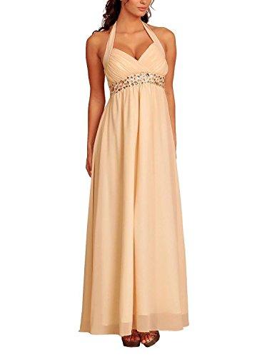My Evening Dress Robe de Soirée Dos nu en Mousseline de Soie Empire pour Fête et Ba Beige