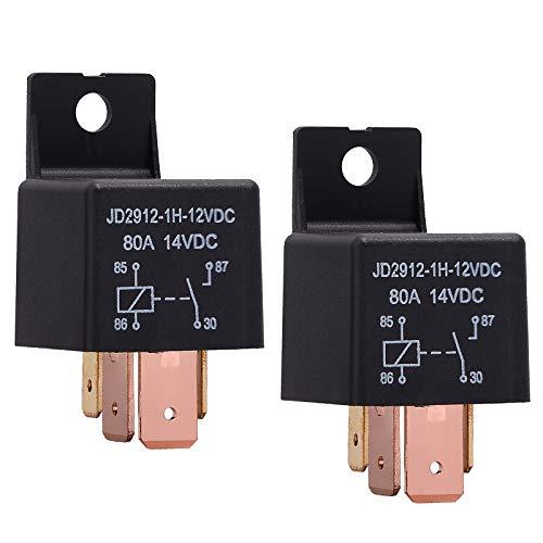 Ehdis® [2 Pack 4-Pin JD2912-1H-12VDC 80A 14VDC On/off Normalmente Aperto crogiolo di Camion dell'automobile SPST Relè ad Alta Potenz
