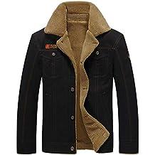 GITVIENAR Herren Winterjacke,Hochwertiges Kunstleder Lederjacke  Parka Mantel mit Fell warme Mens Jacket gefüttert bb9a80d605