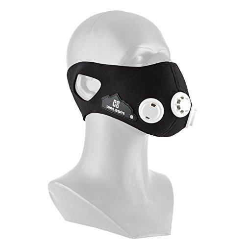 Capital Sports Breathor Ausdauer Trainings-Maske Höhentraining Atemmaske für Bergsteiger (Größe S, Gewicht ca 140g, 7 Aufsätze, Simulation von Höhen zwischen 900 und 5500 m) schwarz