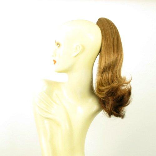 Postiche queue de cheval extension femme mi-longue blond foncé cuivré 40 cm ref 8 en g27