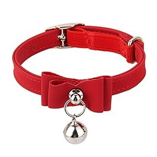 Adjustable Velvet Cat Kitten Neck Collar with Bell (Red) 418vTYVsK4L