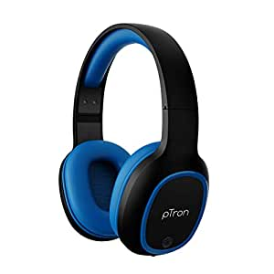 pTron Studio Over-Ear Bluetooth 5.0 Wireless Headphones, Hi-Fi Sound with Deep Bass, 12Hrs Playback, Ergonomic & Lightweight Wireless Headset, Soft Cushions Earpads, Aux Port & Mic - (Blue)