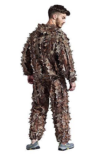 Outdoor-Ausrüstung Ghillie Suit 3D Hybrid Camo Camouflage Leichte Jagd Schnee Wilder Reißverschluss Ghillie Suit für Dschungeljagd, Schießen, Airsoft, Wildlife Photography oder Halloween-(Mandrake)
