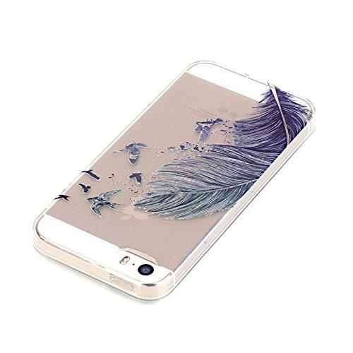 YANINA Coque de protection en silicone TPU Etui Housse pour Apple iphone 5G/5S SE case Mince transparent + 1 x Stylet+1 x film de protection d'écran X06