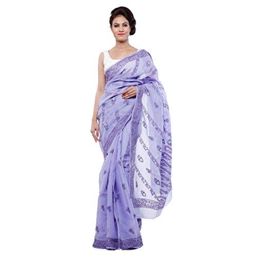 Bds Chikan Cotton Saree (Bds00075_Dark Purple)
