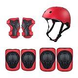 LYLTJ68 Kind Kinder Schutzausrüstung Set, Knieschützer Ellbogenschützer Handgelenkschutz Helm 7 Stück Für Skateboard Inline Rollschuhe Radfahren,Rot
