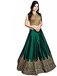 Nirvan Fashion Womens Green Satin Lehenga-Choli - (minaxi grean | Free Size)