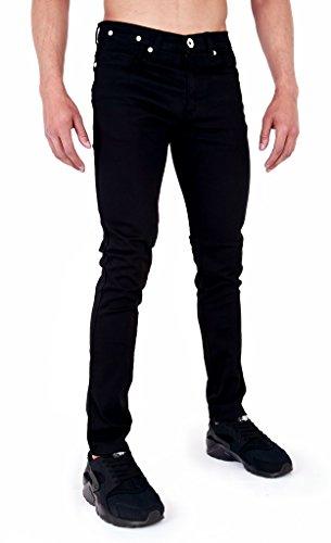 Super Skinny pour homme en sergé Chino élastique Jeans Noir