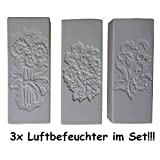 KP 3X Wasserverdunster Luftbefeuchter Keramik Blumen Weiss Wasser Verdunster Heizung