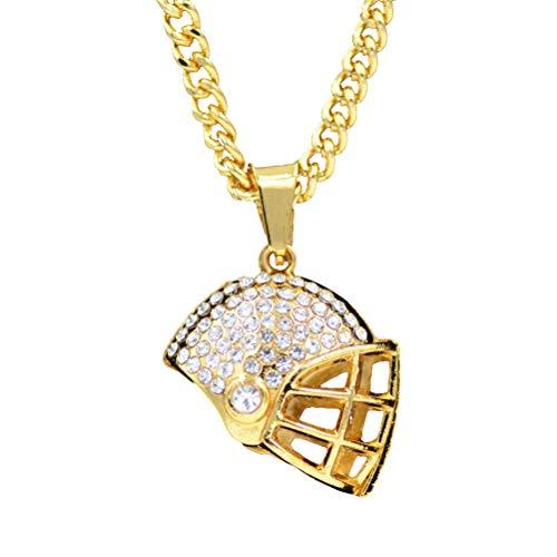 JOYOOY Gold Überzogene Fußball Helm Anhänger Halskette Fußball Thema Kette Golden Funkelnde Strass Kristall Halskette Geschenke