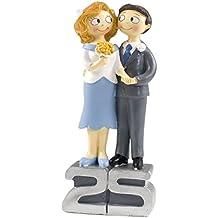 Mopec Y250 - Figura de pastel novios 25 aniversario pop & fun, 21,5 cm