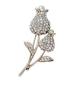Moda oro Wang ha placcato il doppio Tulip di sicurezza pin spilla Diamante pavimenta strass Bouquet bei gioielli fiore di cristallo Suggerimenti collare dell'annata per le donne del regalo di compleanno per lei BH00034