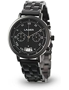 LAiMER Chronograph Holzuhr LUCIO - Herren Armbanduhr aus 100% Ebenholz mit Edelstahlgehäuse für einzigartigen...