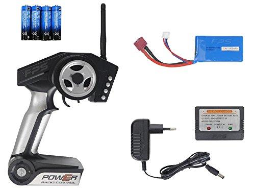 FPS RTR Bundle: Rayline Funrace FR01S D, A969-B, RC 2.4G Speed Elektro PRO Truggy Buggy, ferngesteuert, Pistolenfernbedienung, bis 70 kmh, 540er Motor, Metall Upgrade, 1:18 + 1x LiPo 1400 mAh Akku+ 4x AA Batterien - 6