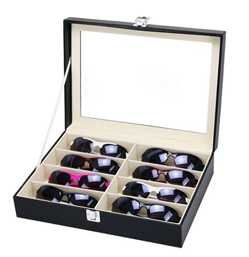 Meshela Brillen Aufbewahrung Brillenbox Etui Eyeglass Case mit Schaufenster aus Glas Brillendisplay Sonnenbrillen Aufbewahrungsbox Organizer (8 Raster)